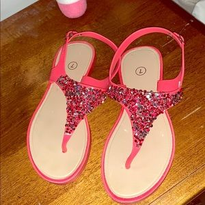 Worn one time! Hot pink sandals from Vegas!